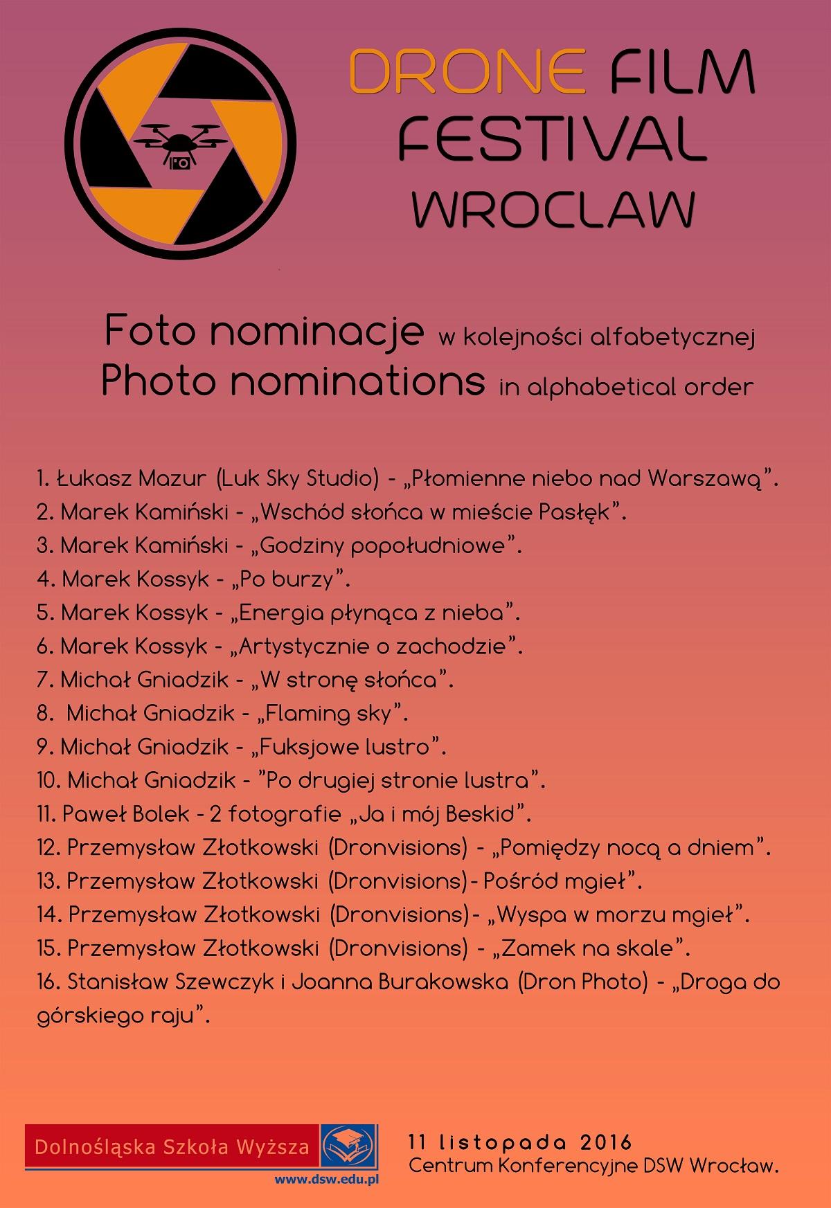 Nominacje fotograficzne do kryształowego Drona